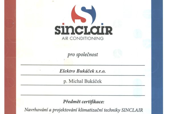 certifikát Sinclair 002